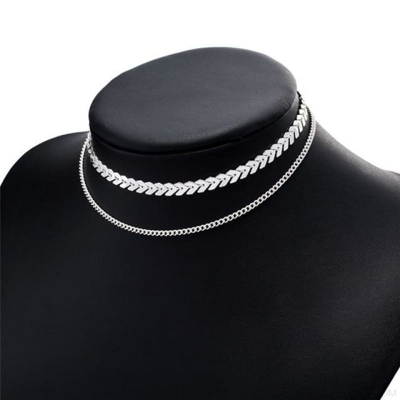 Two Layers Chain & Fishbone Chocker - Silver - Custom Made | Free Shipping