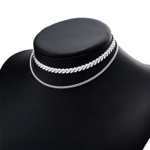 Image of Two Layers Chain & Fishbone Chocker - Silver - Custom Made | Free Shipping