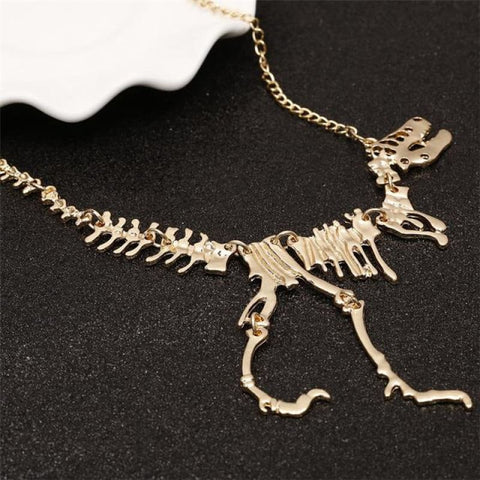 Tyrannosaurus Rex Skeleton Necklace - Gold - Custom Made | Free Shipping