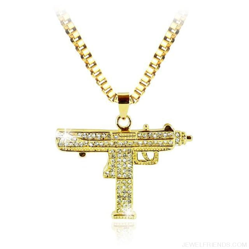 Uzi Gun Pendant Alloy Full Crystal Bling Necklaces - Hip Hop Jewelry - Custom Made | Free Shipping