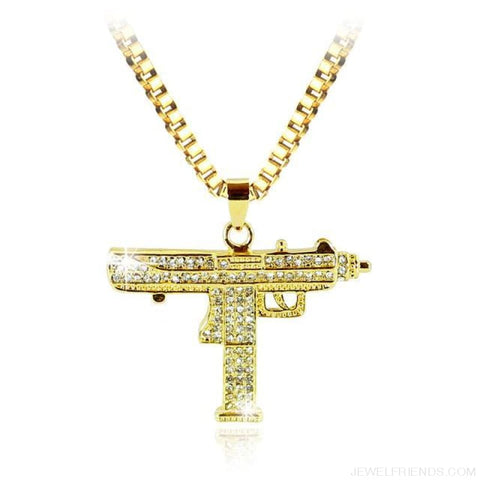 Image of Uzi Gun Pendant Alloy Full Crystal Bling Necklaces - Hip Hop Jewelry - Custom Made | Free Shipping