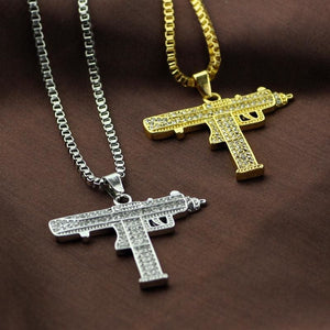 Uzi Gun Pendant Alloy Full Crystal Bling Necklaces