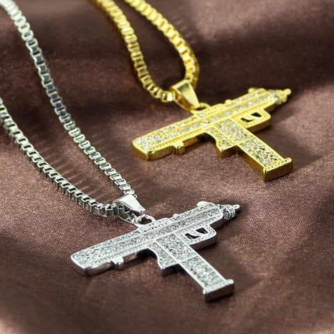 Uzi Gun Pendant Alloy Full Crystal Bling Necklaces - Custom Made | Free Shipping