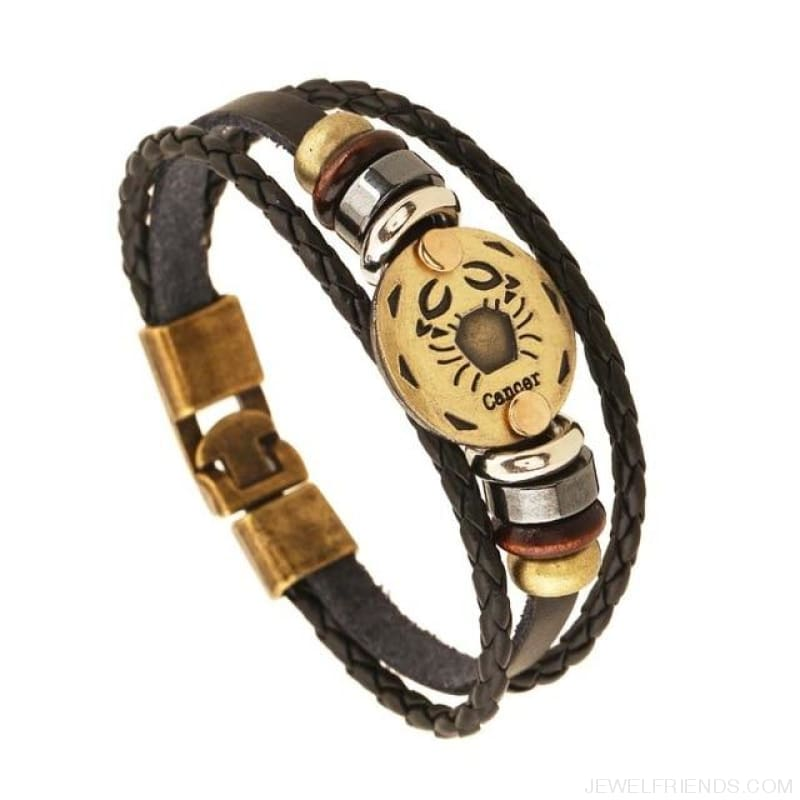 Vintage Bronze 12 Zodiac Signs Wooden Bead Bracelet - 6 - Custom Made | Free Shipping