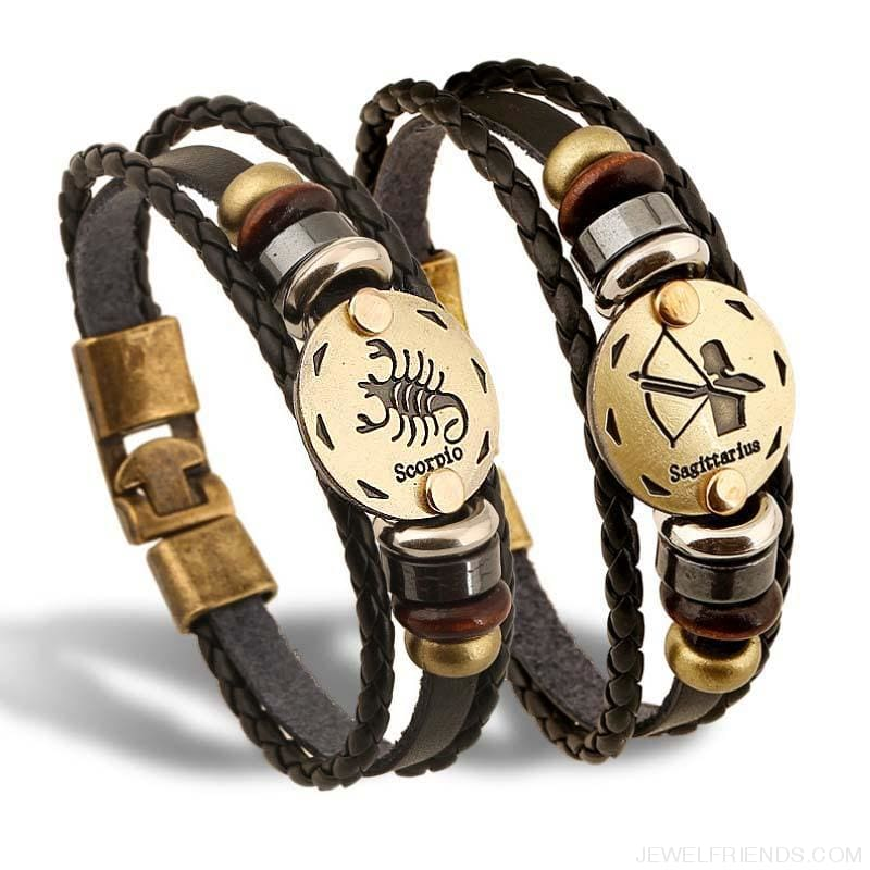 Vintage Bronze 12 Zodiac Signs Wooden Bead Bracelet - Custom Made | Free Shipping