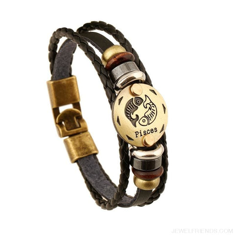 Image of Vintage Bronze 12 Zodiac Signs Wooden Bead Bracelet - Custom Made | Free Shipping
