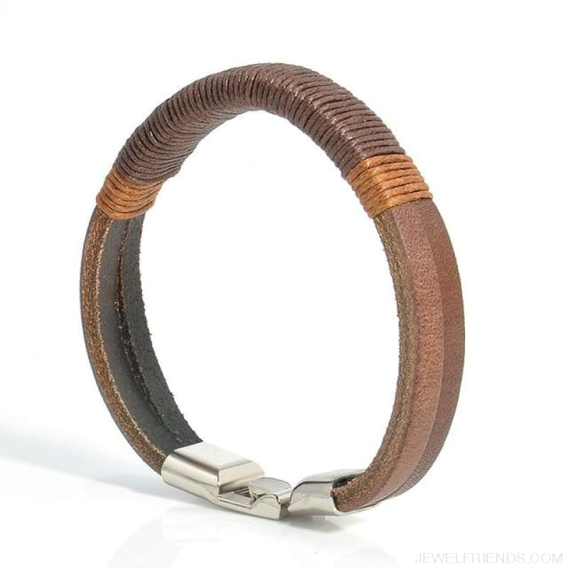 Vintage Hemp Leather Bracelet - Brown - Custom Made | Free Shipping