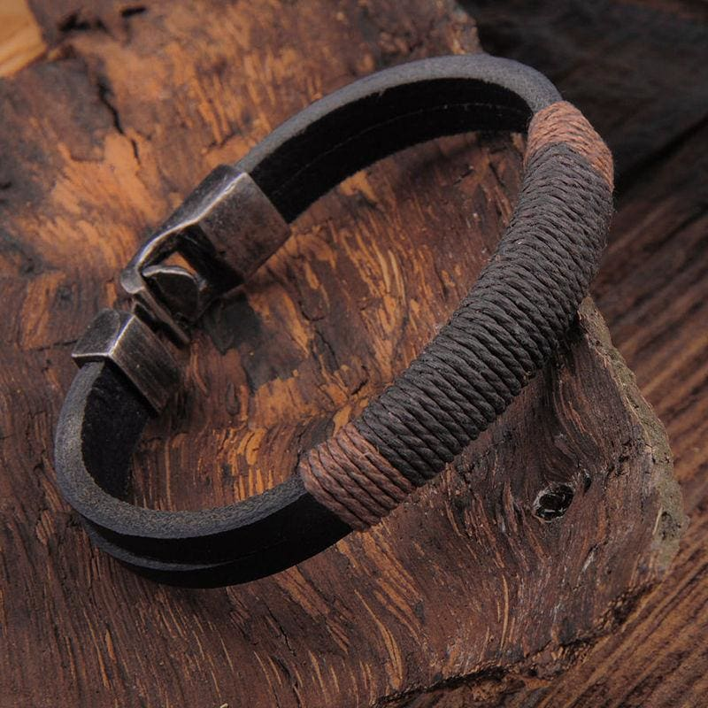 Vintage Hemp Leather Bracelet - Custom Made | Free Shipping