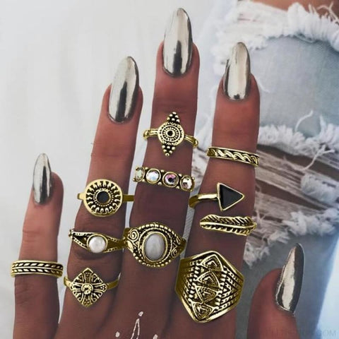 Vintage Knuckle Ring Set Boho Jewelry 10Pcs/set - Type 1 Gold - Custom Made | Free Shipping