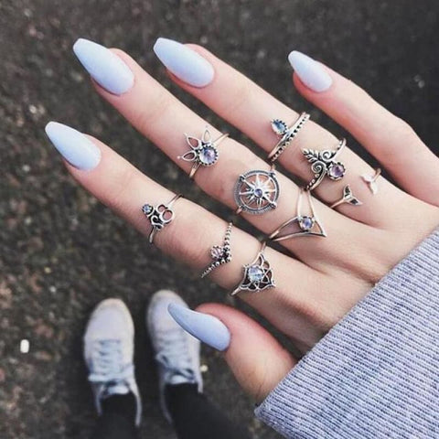 Vintage Knuckle Ring Set Boho Jewelry 10Pcs/set - Type 10 - Custom Made | Free Shipping