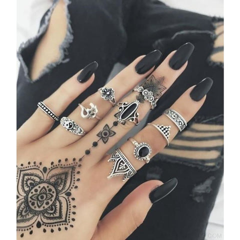 Vintage Knuckle Ring Set Boho Jewelry 10Pcs/set - Type 11 - Custom Made | Free Shipping
