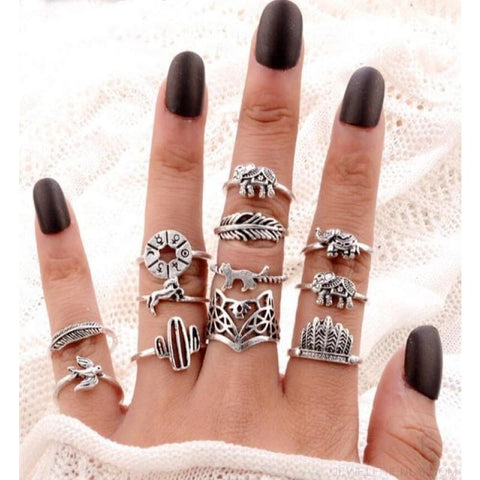 Vintage Knuckle Ring Set Boho Jewelry 10Pcs/set - Type 12 - Custom Made | Free Shipping