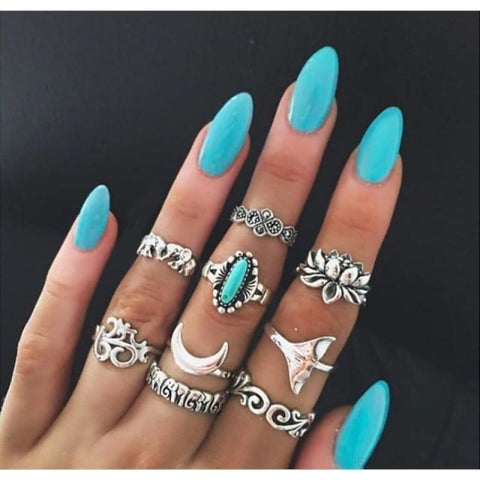 Vintage Knuckle Ring Set Boho Jewelry 10Pcs/set - Type 14 - Custom Made | Free Shipping