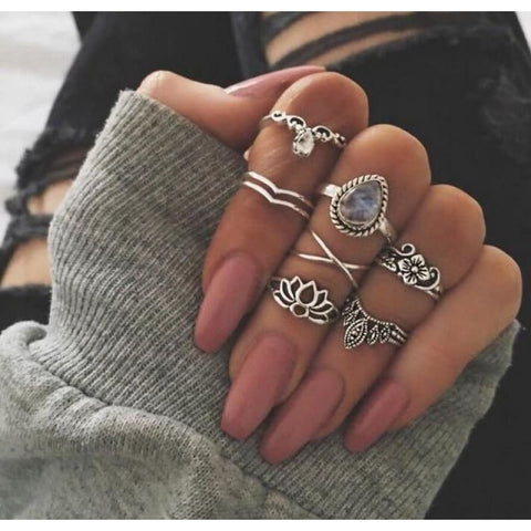 Vintage Knuckle Ring Set Boho Jewelry 10Pcs/set - Type 15 - Custom Made | Free Shipping