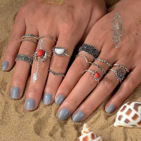 Vintage Knuckle Ring Set Boho Jewelry 10Pcs/set - Type 17 - Custom Made | Free Shipping