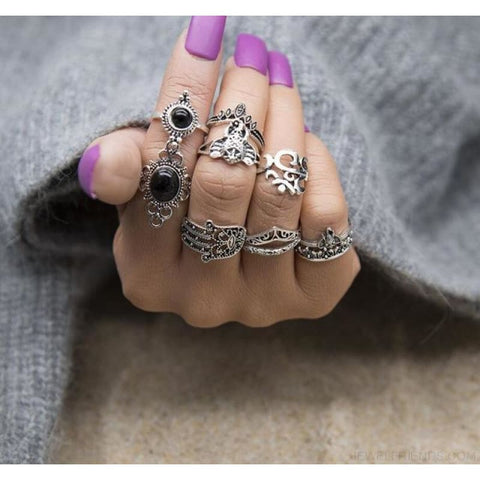 Vintage Knuckle Ring Set Boho Jewelry 10Pcs/set - Type 18 - Custom Made | Free Shipping
