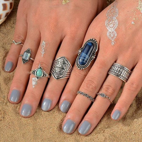 Vintage Knuckle Ring Set Boho Jewelry 10Pcs/set - Type 19 - Custom Made | Free Shipping