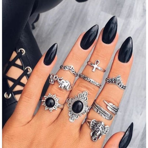 Vintage Knuckle Ring Set Boho Jewelry 10Pcs/set - Type 6 - Custom Made | Free Shipping