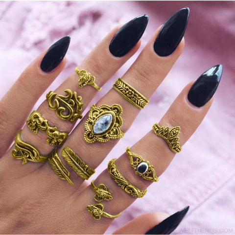 Vintage Knuckle Ring Set Boho Jewelry 10Pcs/set - Type 7 Gold - Custom Made | Free Shipping