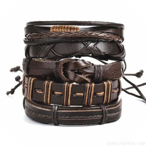 Image of Vintage Leaf Feather Multilayer Leather Bracelet - Bjdy616 - Custom Made | Free Shipping