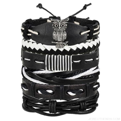 Image of Vintage Leaf Feather Multilayer Leather Bracelet - Bjdy705 - Custom Made | Free Shipping