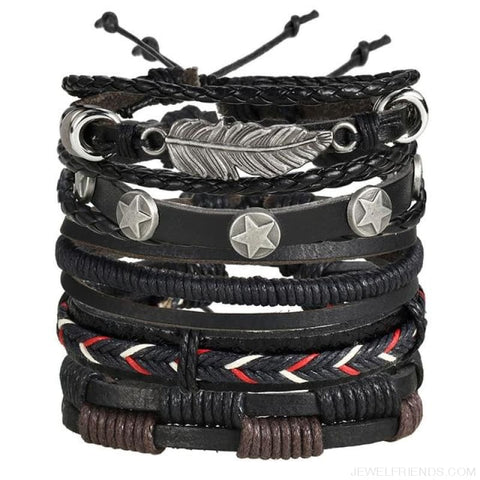 Image of Vintage Leaf Feather Multilayer Leather Bracelet - Bjdy707 - Custom Made | Free Shipping