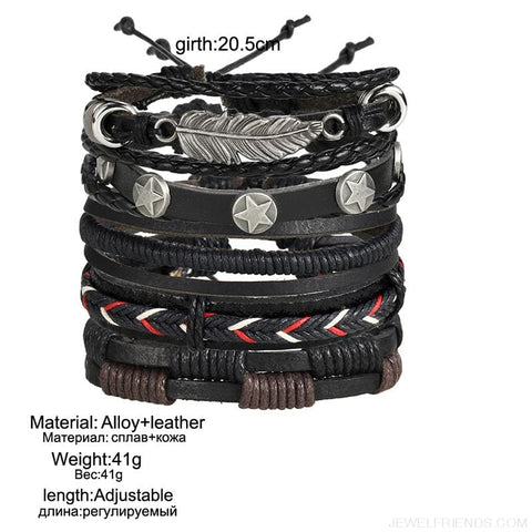 Image of Vintage Leaf Feather Multilayer Leather Bracelet - Custom Made | Free Shipping