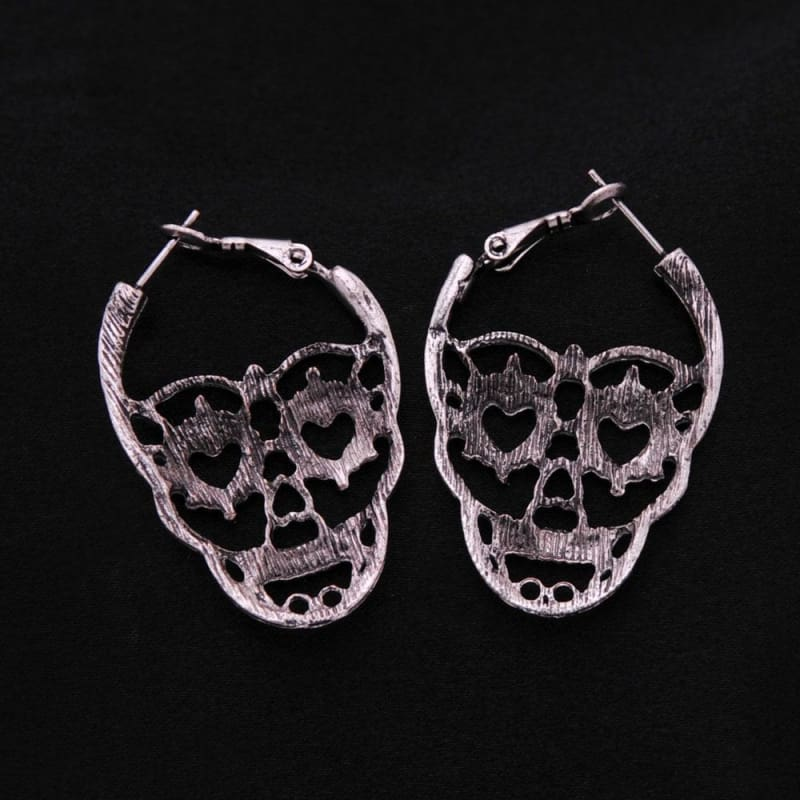 Vintage Love Heart Eyes Skull Hoop Earrings - Custom Made | Free Shipping