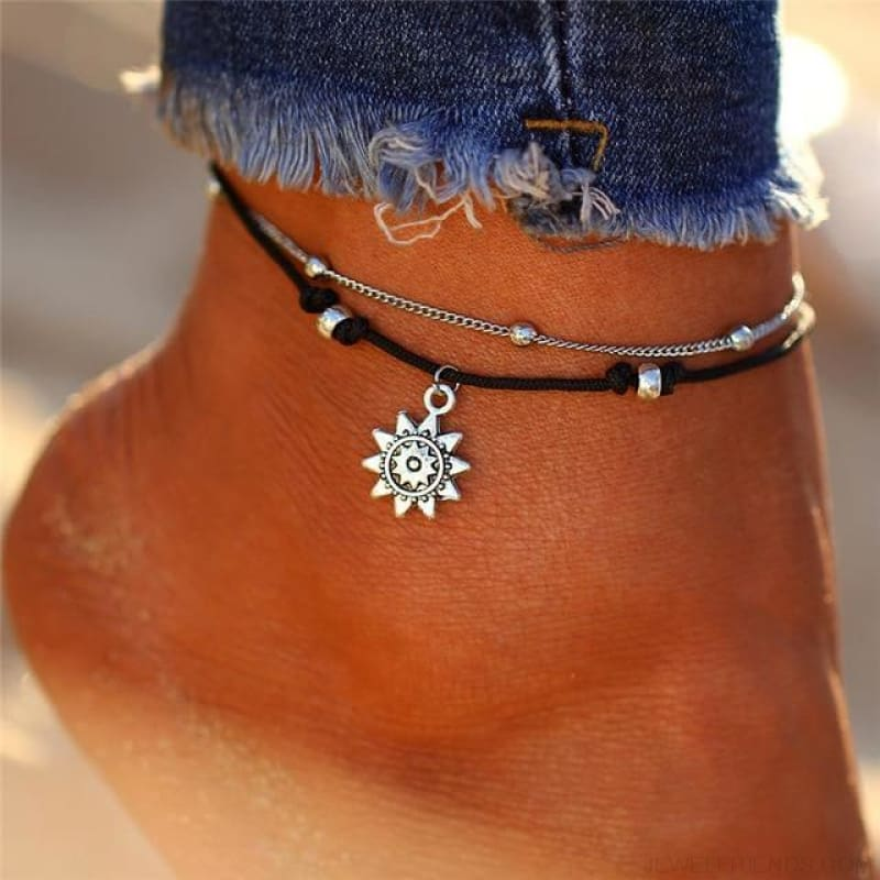 Vintage Multiple Layers Charms Anklets Silver Color Sun Shape Beads - Bjdy724 - Custom Made | Free Shipping