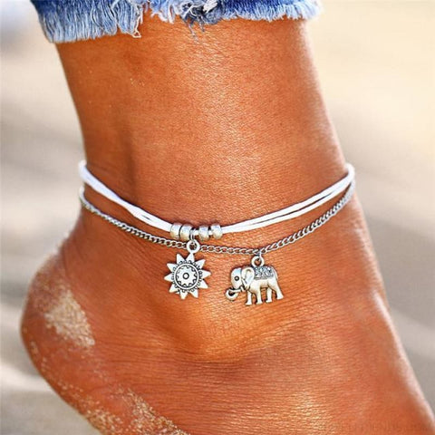 Image of Vintage Multiple Layers Charms Anklets Silver Color Sun Shape Beads - Bjdy725 - Custom Made | Free Shipping