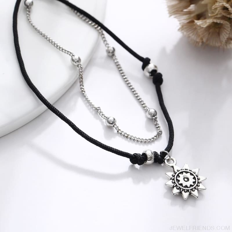 Vintage Multiple Layers Charms Anklets Silver Color Sun Shape Beads - Custom Made | Free Shipping