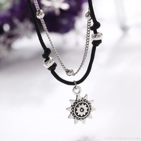 Image of Vintage Multiple Layers Charms Anklets Silver Color Sun Shape Beads - Custom Made | Free Shipping