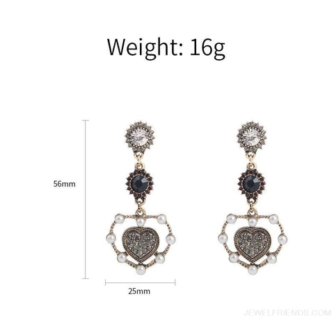 Image of Vintage Pearl Love Heart Long Drop Earring - Custom Made | Free Shipping
