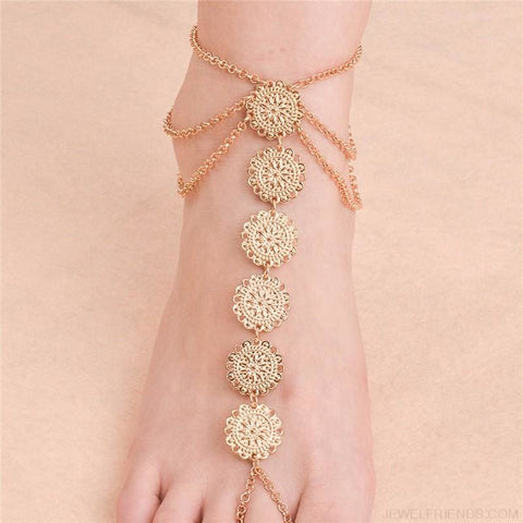 Vintage Round Carving Flower Coins Anklet - Custom Made | Free Shipping