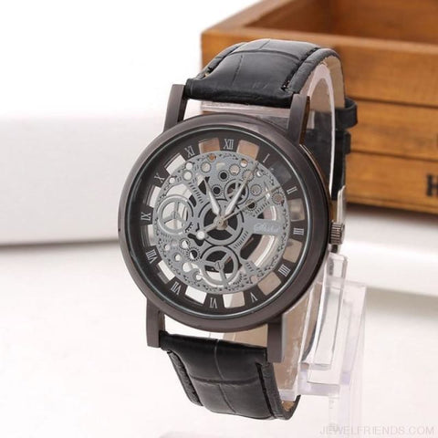 Vintage Style Skeleton Leather Band Clock - Black - Custom Made | Free Shipping