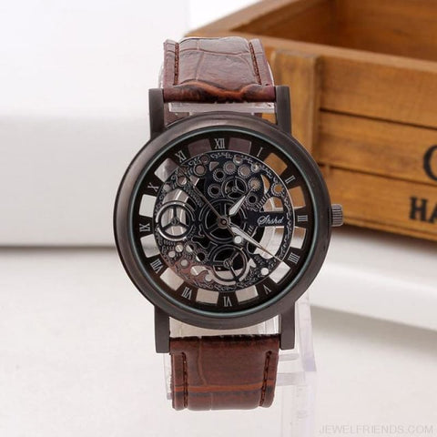 Vintage Style Skeleton Leather Band Clock - Brown - Custom Made | Free Shipping