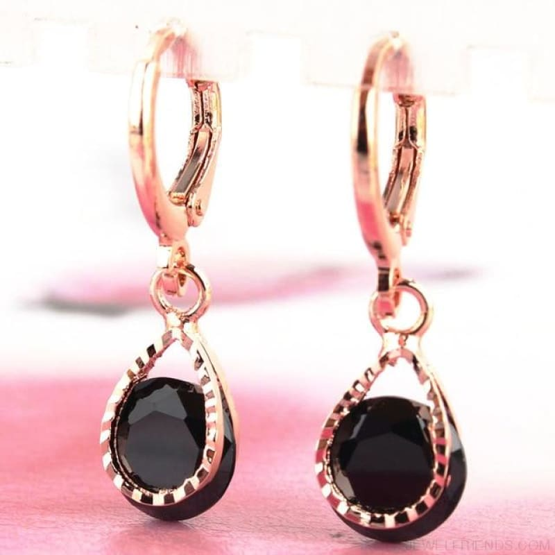Vintage Water Drop Cz Crystal Earrings - Black - Custom Made | Free Shipping