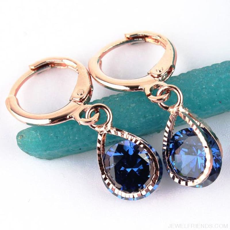 Vintage Water Drop Cz Crystal Earrings - Blue - Custom Made | Free Shipping
