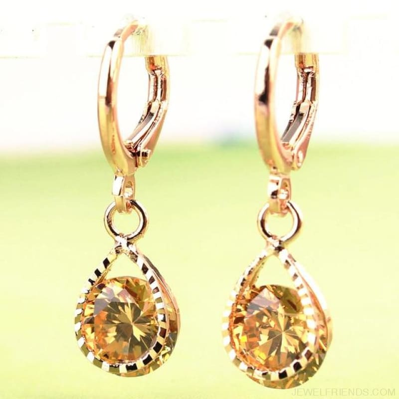 Vintage Water Drop Cz Crystal Earrings - Champagne - Custom Made | Free Shipping