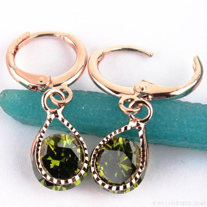 Vintage Water Drop Cz Crystal Earrings - Green - Custom Made | Free Shipping