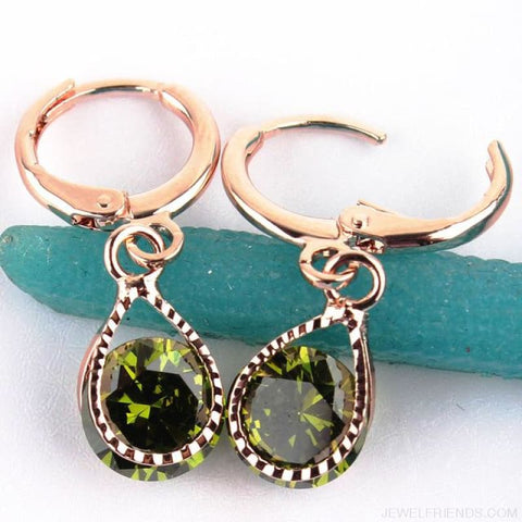 Image of Vintage Water Drop Cz Crystal Earrings - Green - Custom Made | Free Shipping