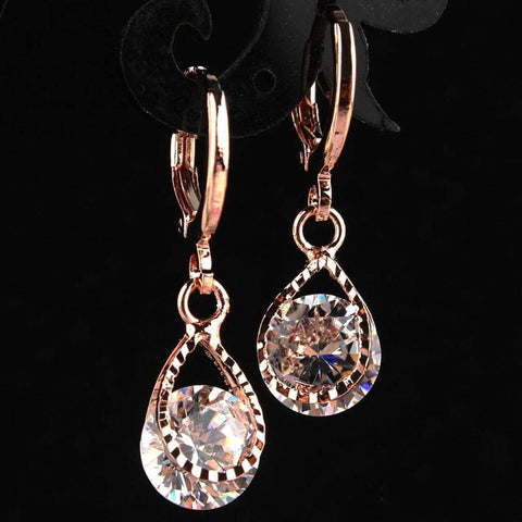 Image of Vintage Water Drop Cz Crystal Earrings - Custom Made | Free Shipping