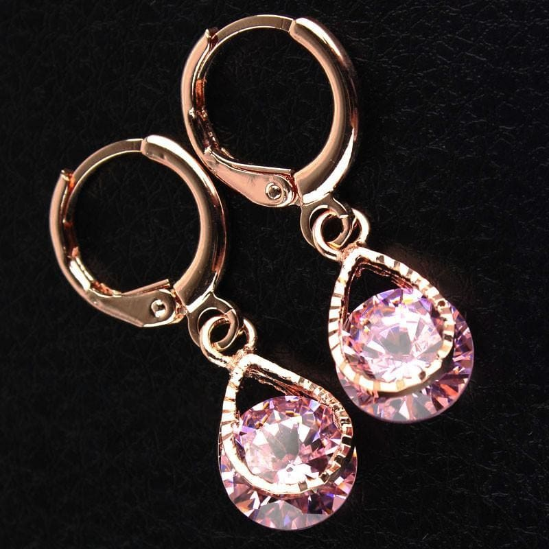 Vintage Water Drop Cz Crystal Earrings - Custom Made | Free Shipping