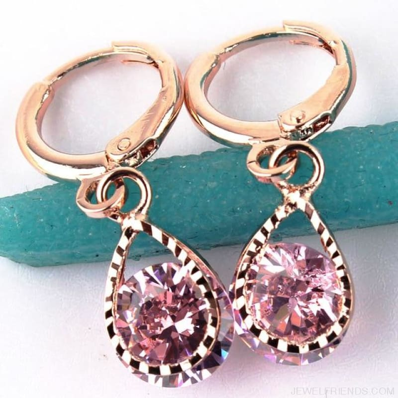 Vintage Water Drop Cz Crystal Earrings - Pink - Custom Made | Free Shipping