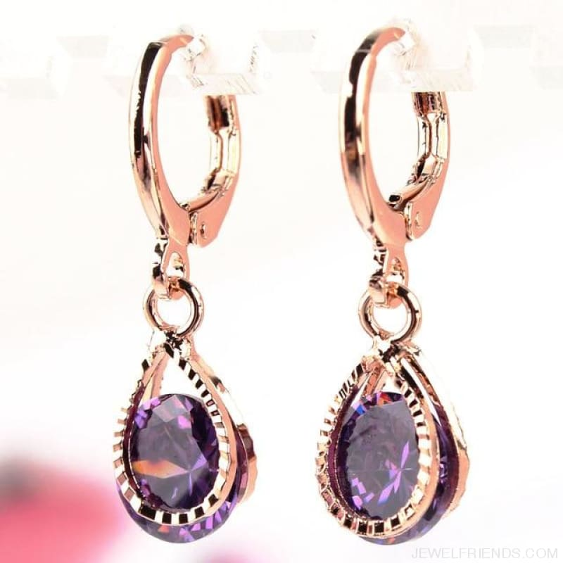 Vintage Water Drop Cz Crystal Earrings - Purple - Custom Made | Free Shipping