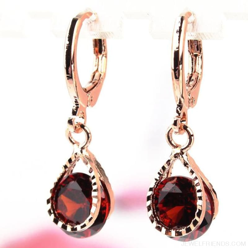 Vintage Water Drop Cz Crystal Earrings - Red - Custom Made | Free Shipping
