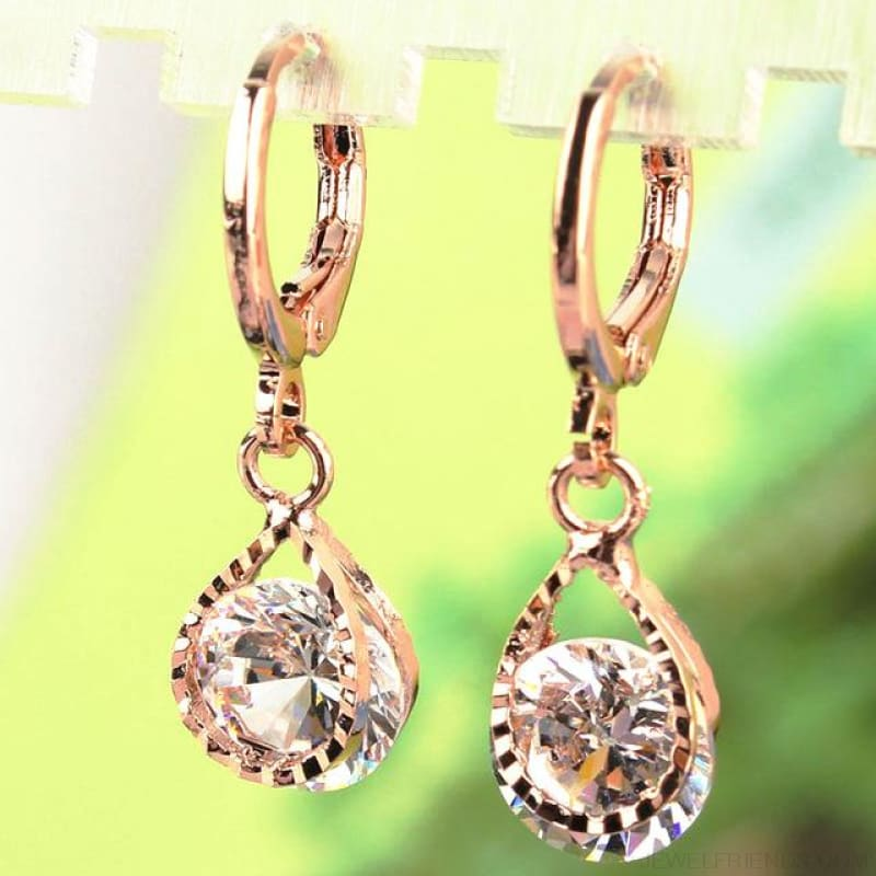 Vintage Water Drop Cz Crystal Earrings - White - Custom Made | Free Shipping