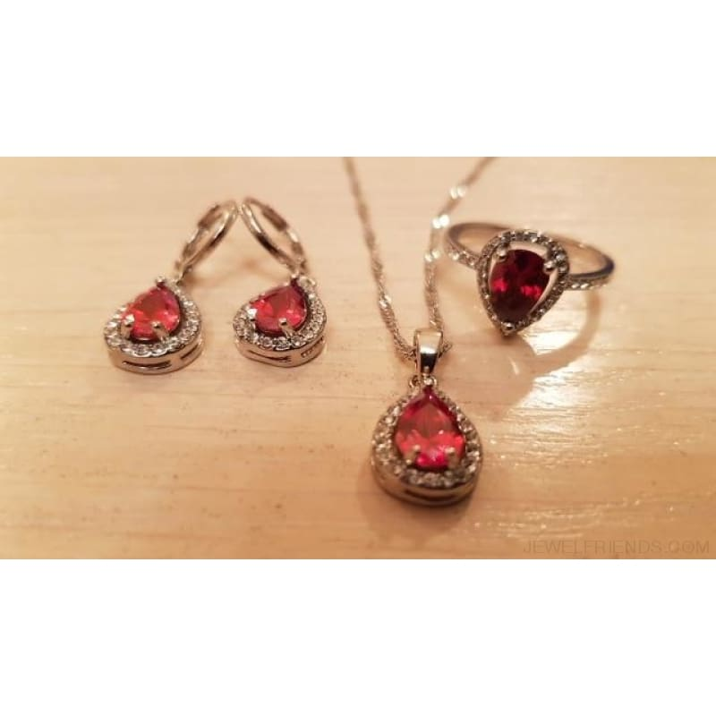 Water Drop Cubic Zirconia Stone 925 Sterling Silver Jewelry Set - Custom Made | Free Shipping
