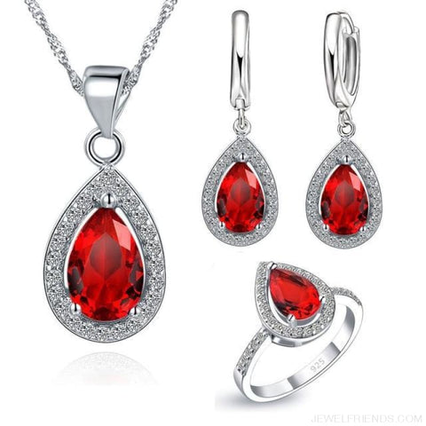 Water Drop Cubic Zirconia Stone 925 Sterling Silver Jewelry Set - Red / 6 - Custom Made | Free Shipping