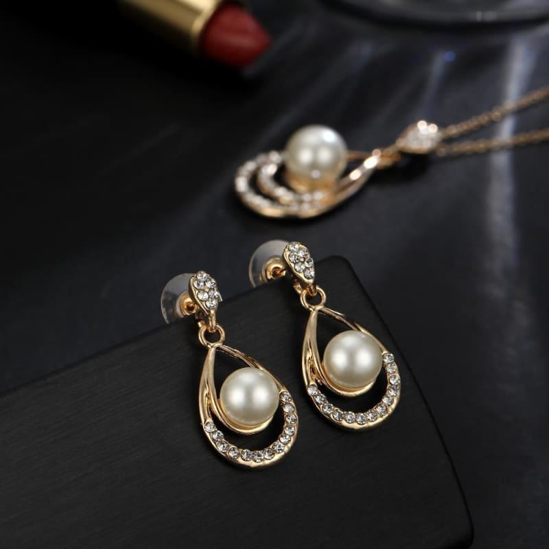 Water Drop Simulated Pearl Crystal Jewelry Sets - Custom Made | Free Shipping
